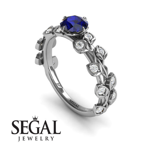 Leafs All Around Blue Sapphire Ring- Sydney no. 9