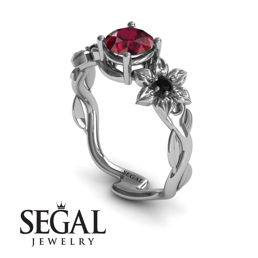 Nature Inspired Engagement Ring 14K White Gold 084 Carat Round
