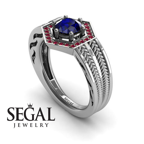 Unique Engagement Ring 14K White Gold Vintage Art Deco Edwardian Ring Filigree Ring Sapphire With Ruby - Peyton