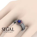The Victorian Hexagon Blue Sapphire Ring- Peyton noº 6