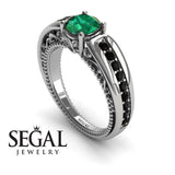 Stairway to Heaven Green Emerald Ring- 14K White Gold -Gabriella no. 15