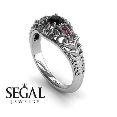 Unique Engagement Ring 14K White Gold Vintage Victorian Ring Edwardian Ring Filigree Ring Black Diamond With Ruby - Cadence