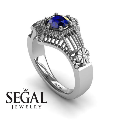 Unique Engagement Ring 14K White Gold Vintage Victorian Ring Edwardian Ring Filigree Ring Sapphire - Savannah