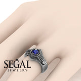 The Flower Cage Blue Sapphire Ring- Savannah noº 6