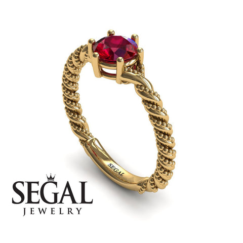 The Braid Ring Ruby Ring- Keira no. 7