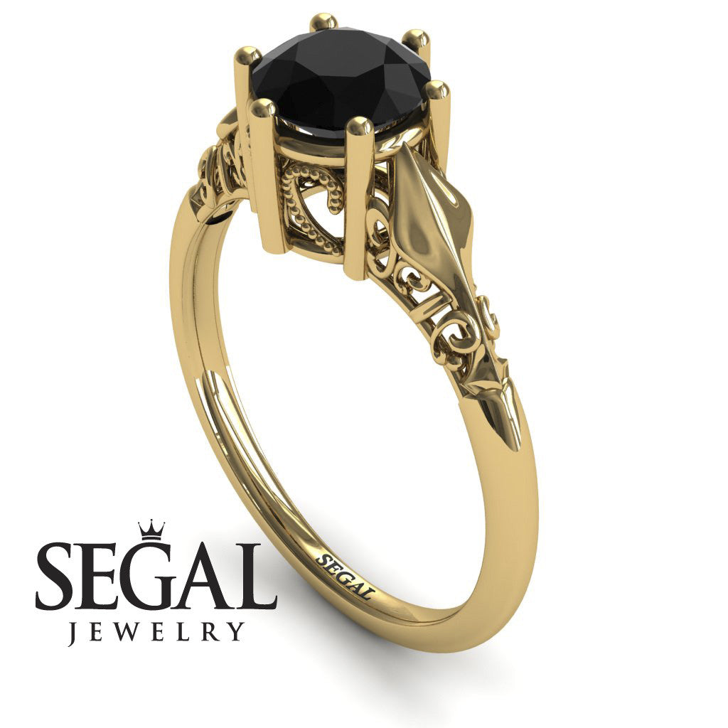 Art deco Leafs Structure Black Diamond Ring- Reagan no. 10
