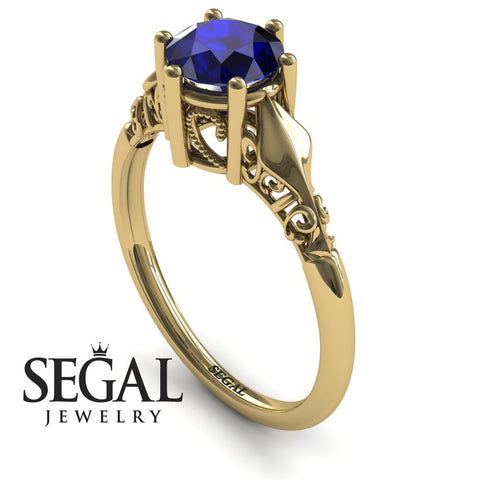 Art deco Leafs Structure Blue Sapphire Ring- Reagan no. 4