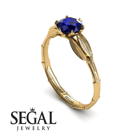The Bamboo Dragonfly Blue Sapphire Ring- Lily no. 7