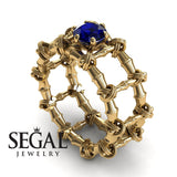 The Bamboo Power knot Blue Sapphire Ring- Sophia no. 7