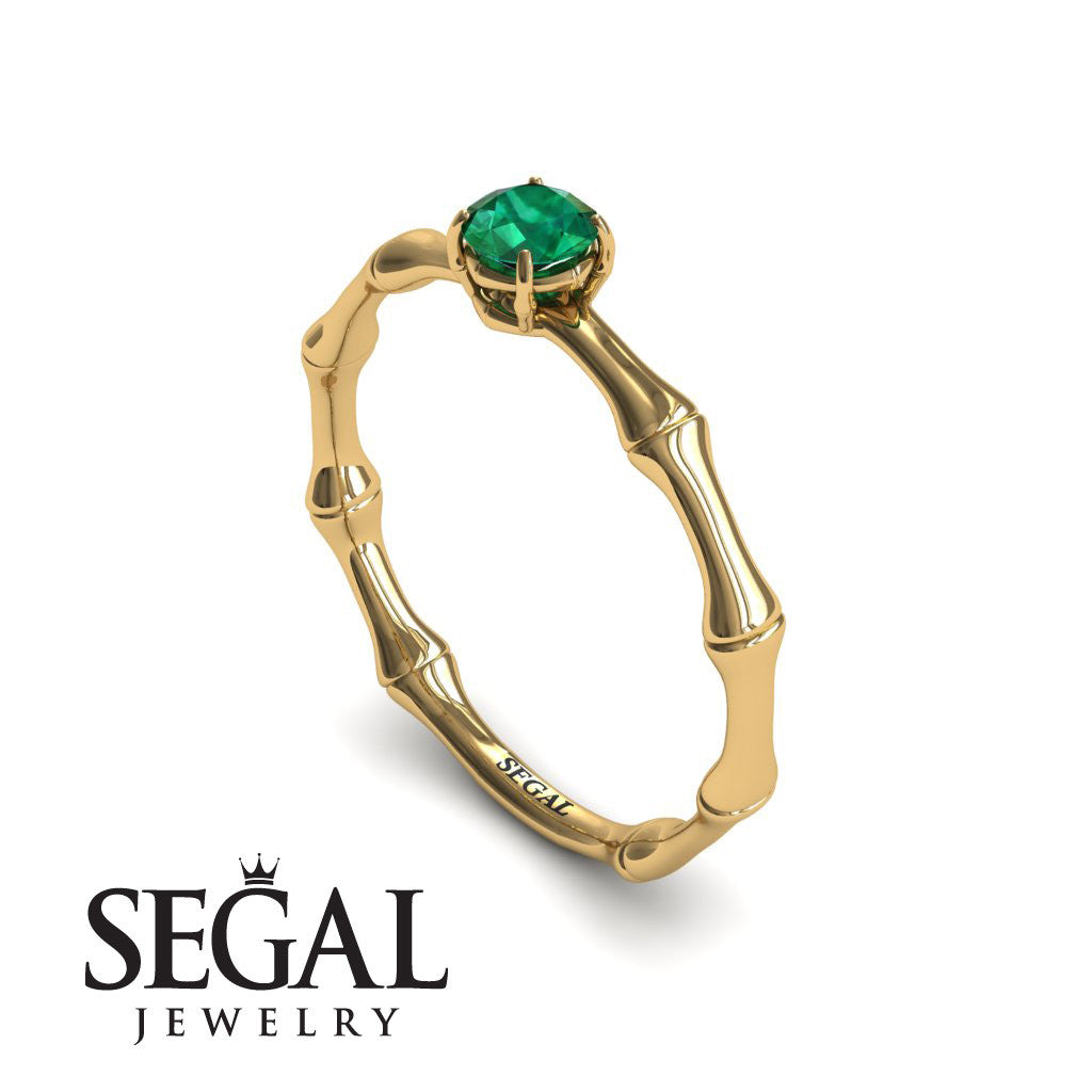 Solitaire Bamboo Green Emerald ring- Charlotte no. 13