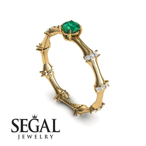 Fancy Bamboo Green Emerald Ring- Grace no. 10