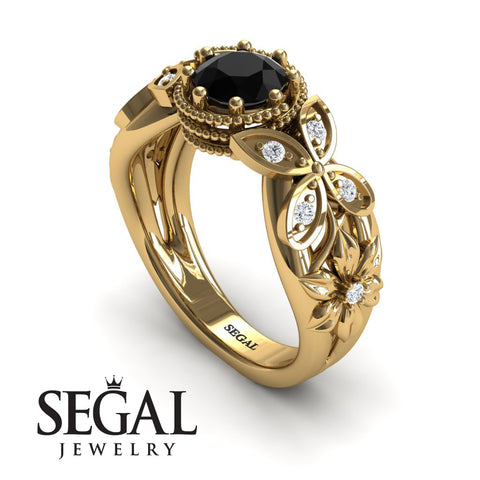 Mounted Circle Rounds Black Diamond Ring- Vivian no. 10