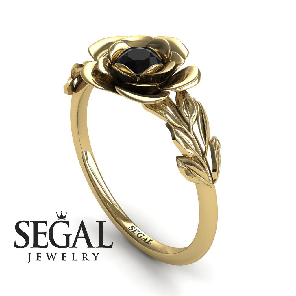 Soft Flower And Leaves Black Diamond Ring- Adalyn no. 10
