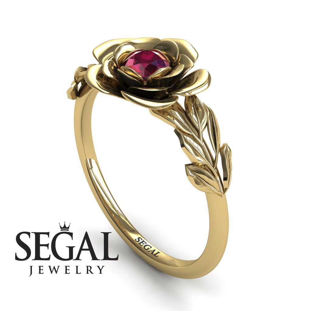 Soft Flower And Leaves Ruby Ring- Adalyn no. 7
