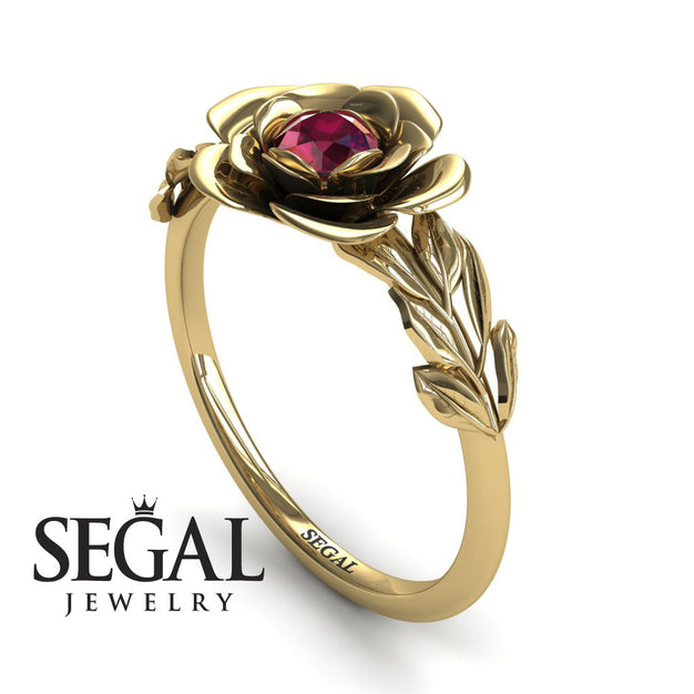 Soft Flower And Leaves Ruby Ring Engagement Ring - Adalyn