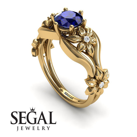 The 4th Season Flower Ring Blue Sapphire Ring- Lauren no. 4