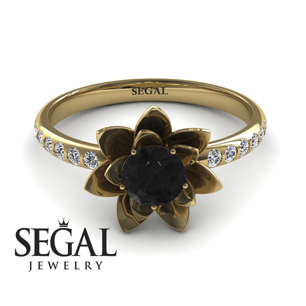 Lotus Flower Black Diamond ring - Lotus no. 4