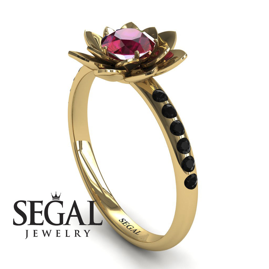 Flower Lotus Flower Engagement Ring - Lotus no. 7