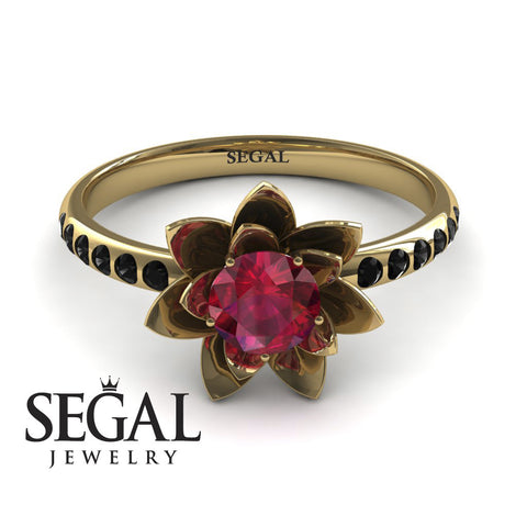 Flower Classic Engagement Ring - Lotus no. 7