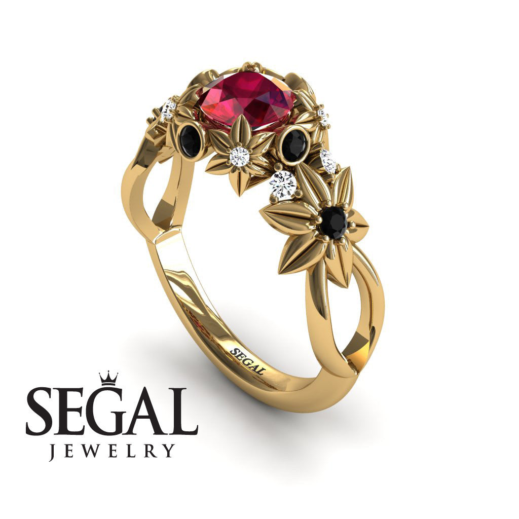 Flowers And Branches Ruby Ring - Katherine no. 4