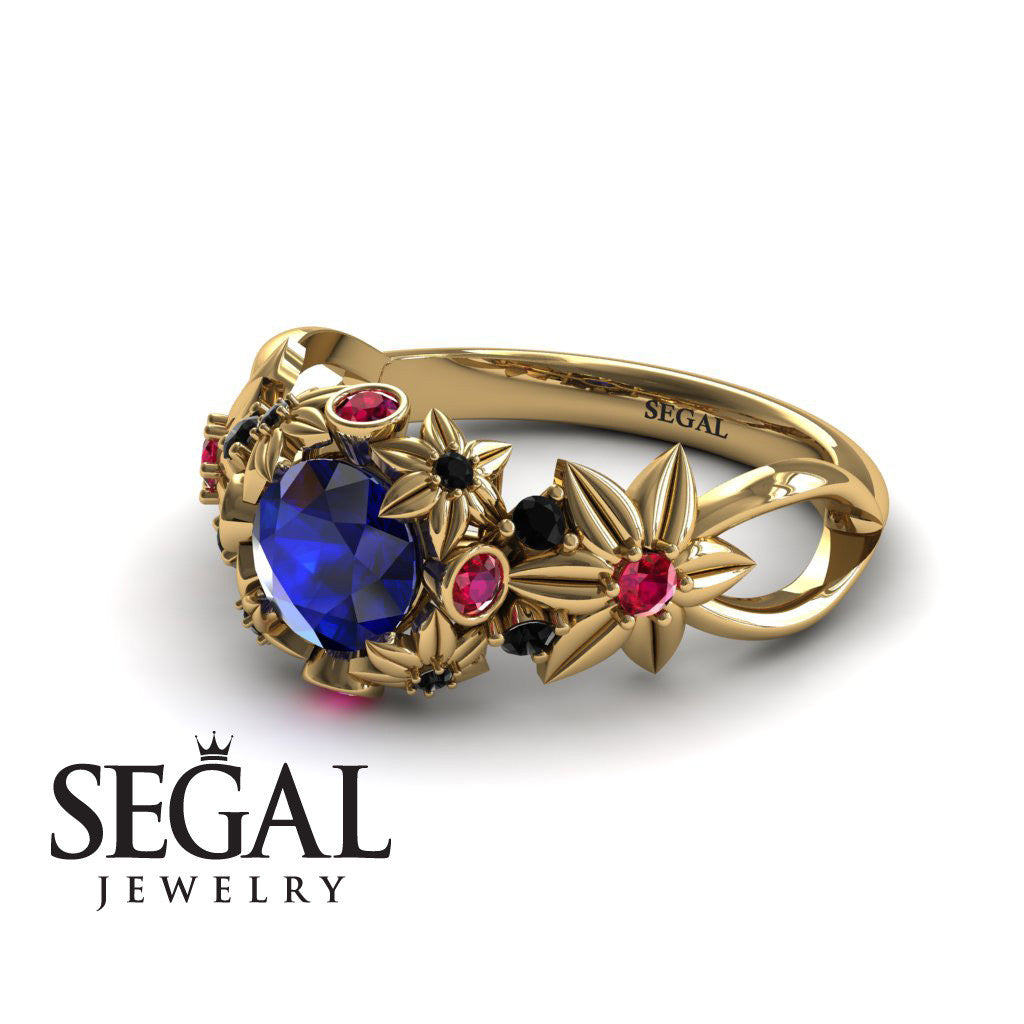 Flowers And Branches Blue Sapphire Ring - Katherine no. 13