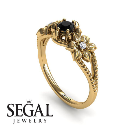 The Flower cocktail ring Black Diamond Ring- Kennedy no. 10