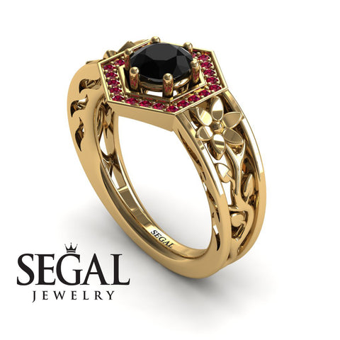 The Hexagon Flower Black Diamond Ring- Paisley no. 10
