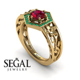 The Hexagon Flower Ruby Ring- Paisley no. 7