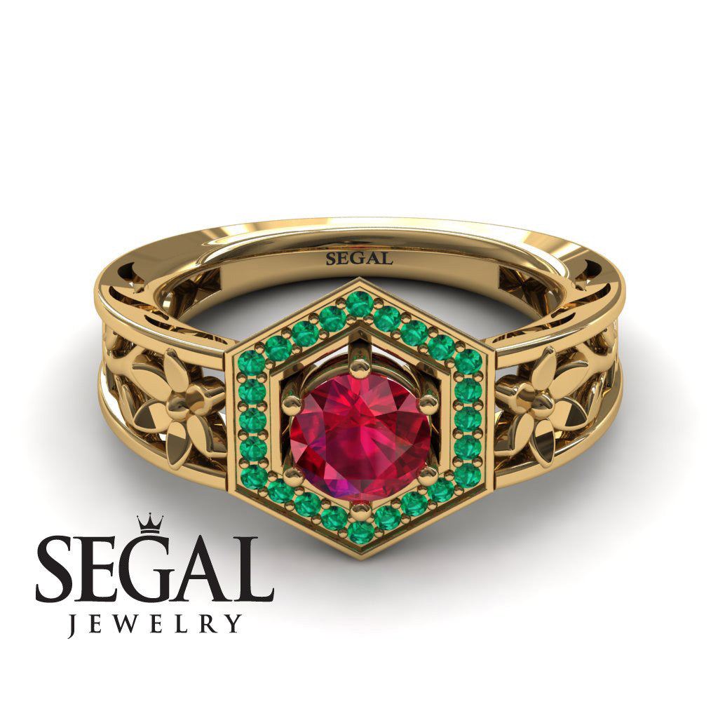 The Hexagon Flower Ruby Engagement Ring - Round Cut - Paisley no. 7
