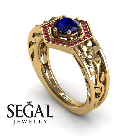 The Hexagon Flower Blue Sapphire Ring- Paisley no. 4