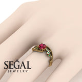 Leaf Relief Ruby Ring- Audrey no. 4