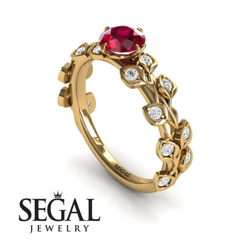 Leafs All Around Ruby Ring- Sydney no. 4