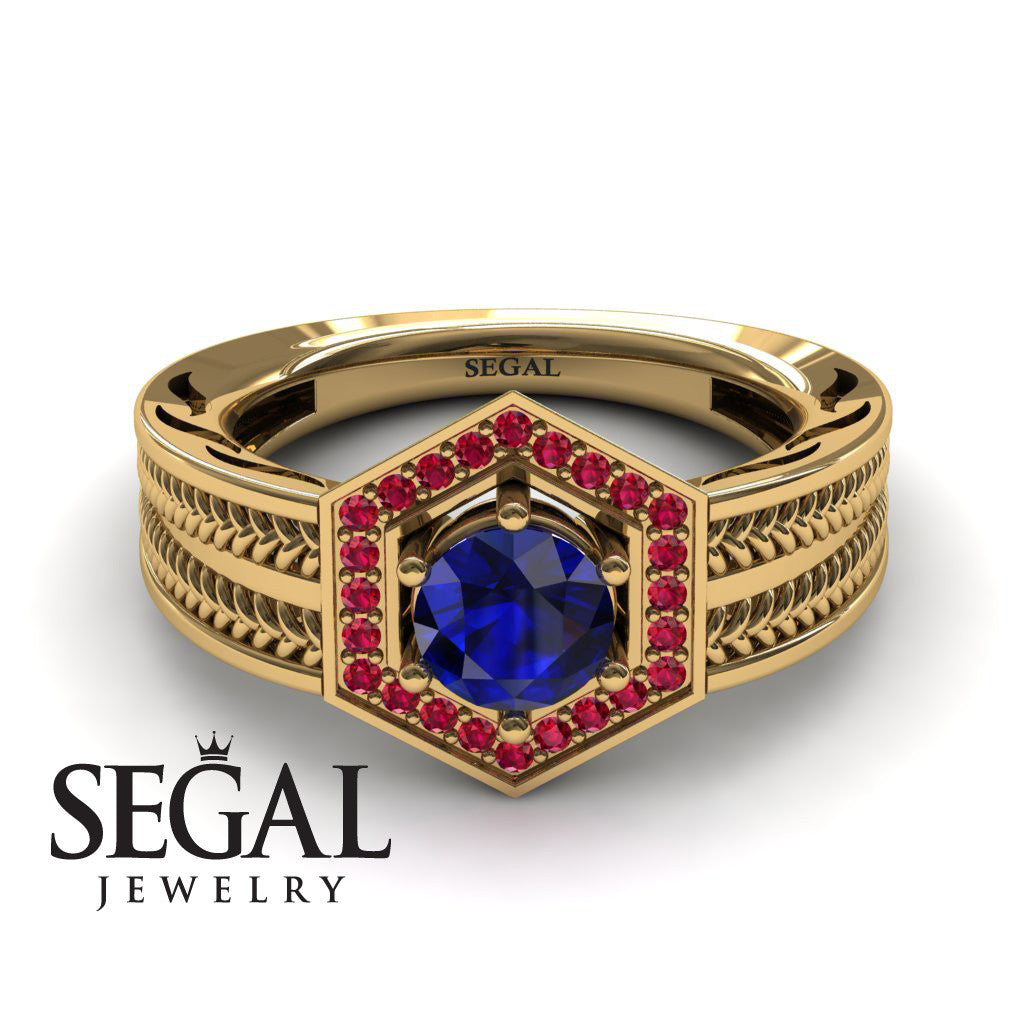 The Victorian Hexagon Blue Sapphire Ring- Peyton noº 4