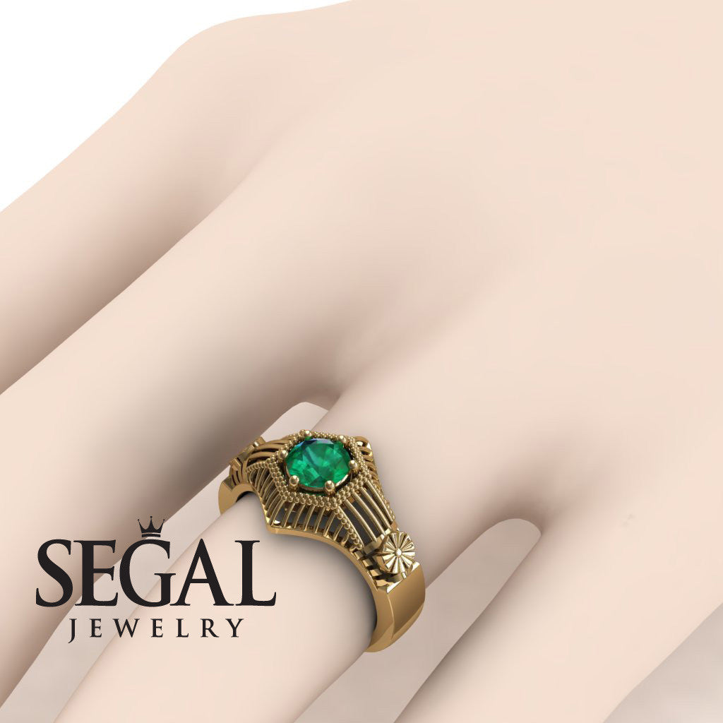 The Flower Cage Green Emerald Ring- Savannah noº 10