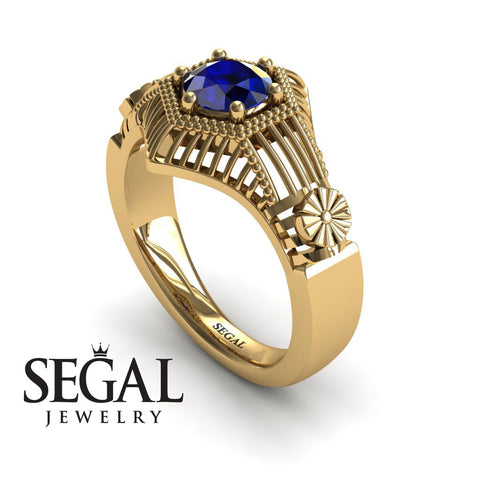Unique Engagement Ring 14K Yellow Gold Vintage Victorian Ring Edwardian Ring Filigree Ring Sapphire - Savannah