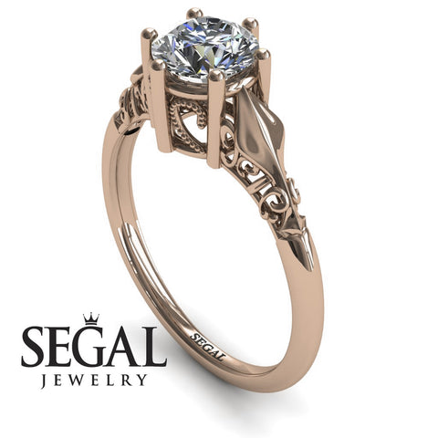 Solitaire Art Deco Engagement Ring - Reagan no. 2