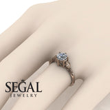 Leaf Solitaire Engagement Ring - Reagan no. 2