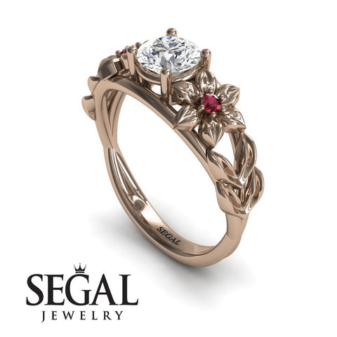 Leaf Floral Engagement Ring - Ella no. 5