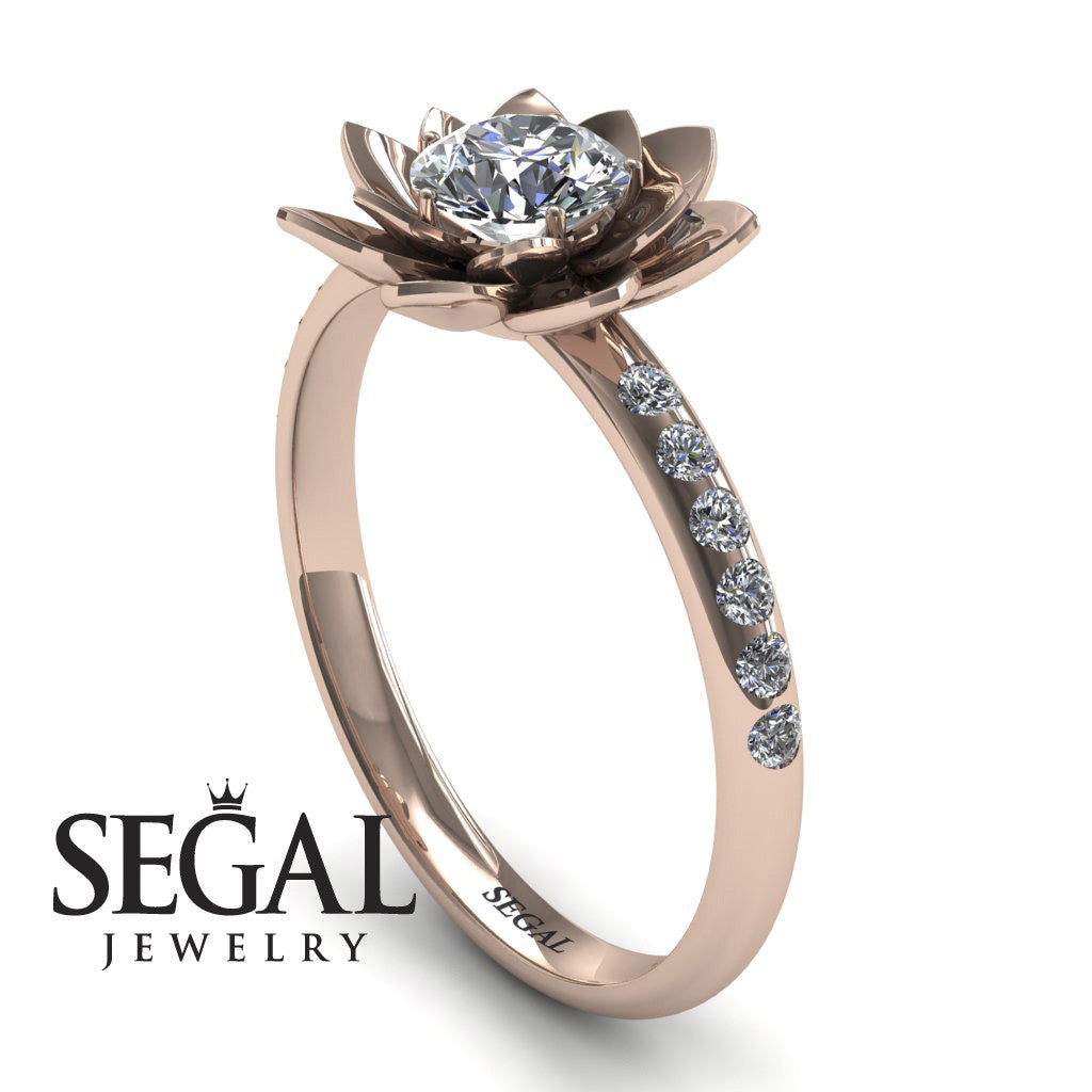 78f64063927 Lotus Engagement Ring - 14K Rose Gold 0.5 Carat Round Cut Diamond ...