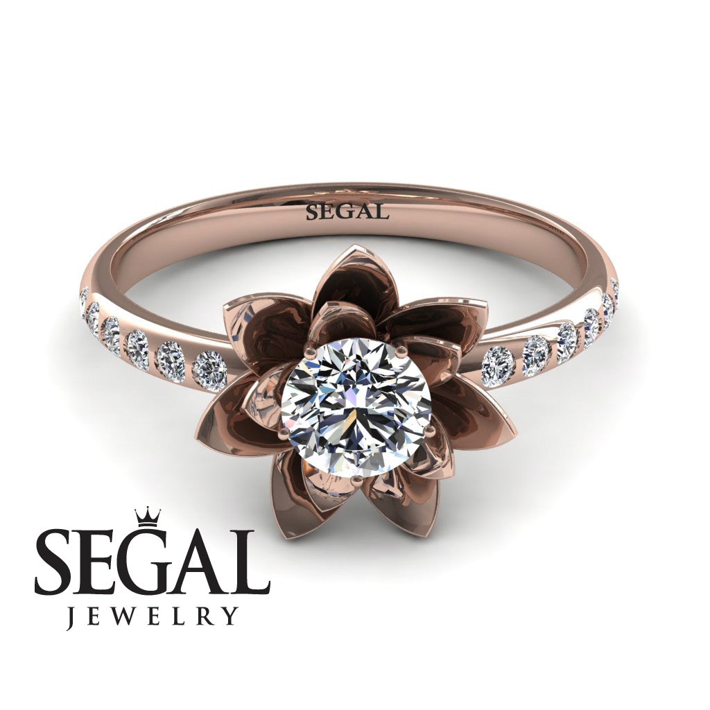 Lotus Rose Gold Flower Diamond Engagement Ring - 0.5 Carat Round Cut - Lotus no. 2