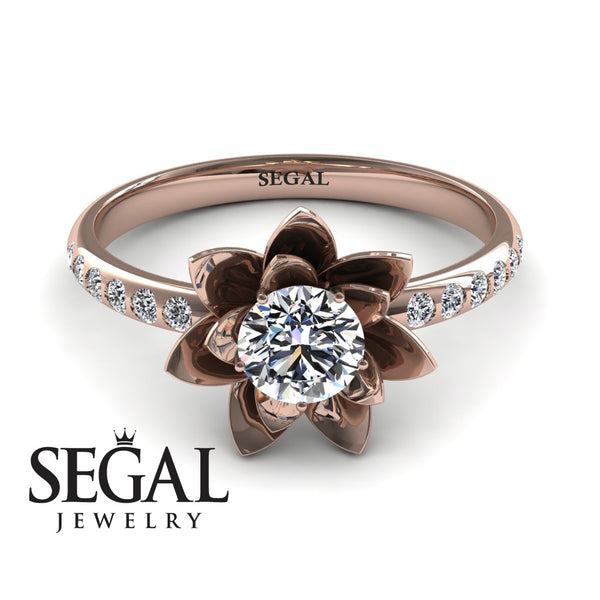 aebf8154627 Lotus Rose Gold Flower Diamond Engagement Ring - 0.5 Carat Round Cut -  Lotus no. 2