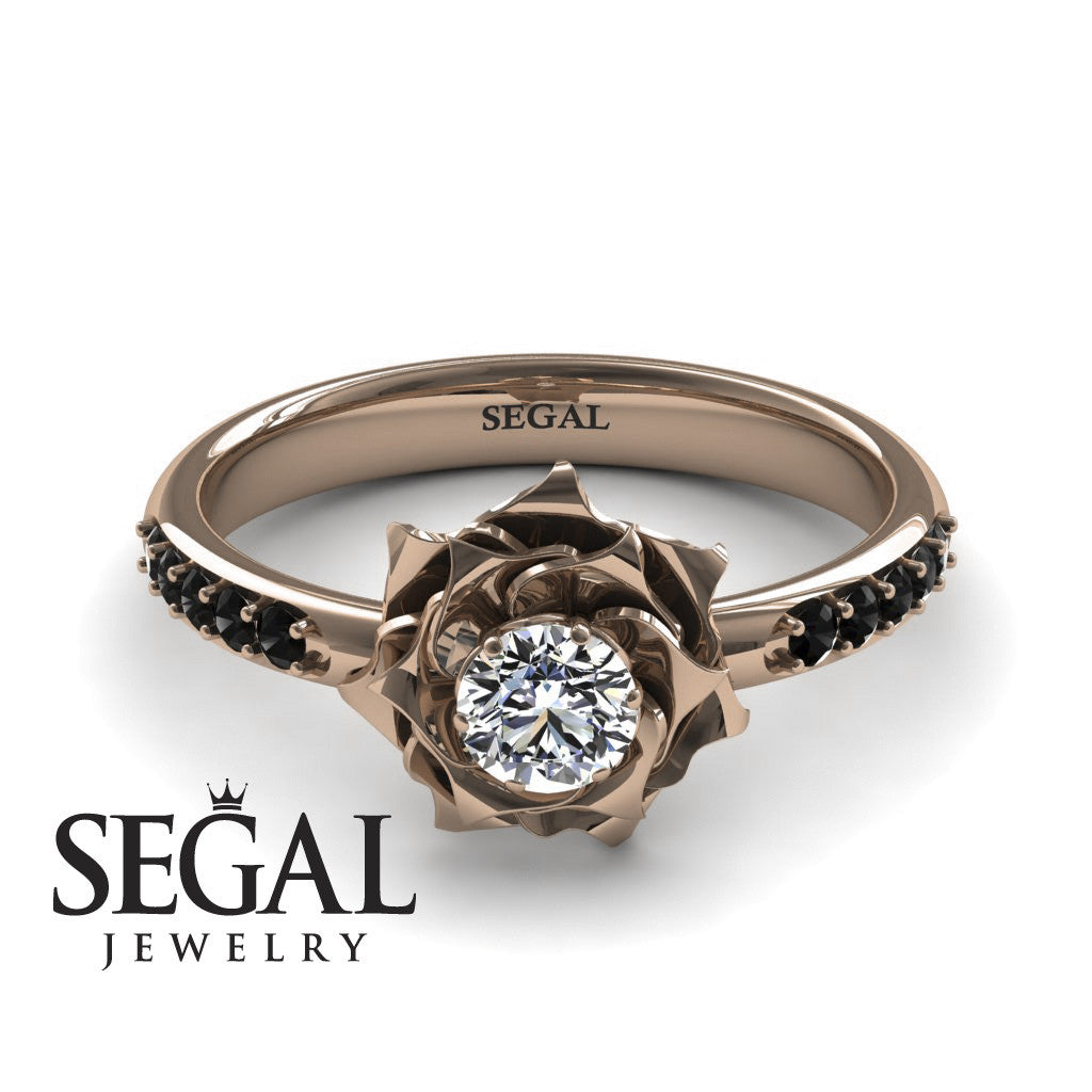 31fc61c12dc24 Unique Engagement Ring - 14K Rose Gold 0.25 Carat Round Cut Diamond ...
