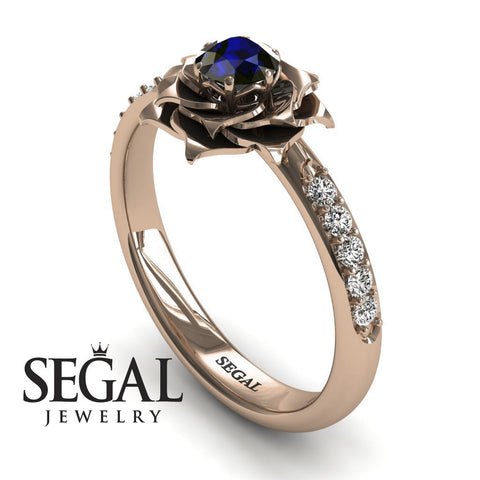 A lady's Rose Blue Sapphire Ring- Elena no. 8