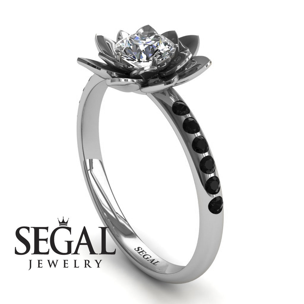 flower engagement ring - 14k white gold 0.5 carat round cut