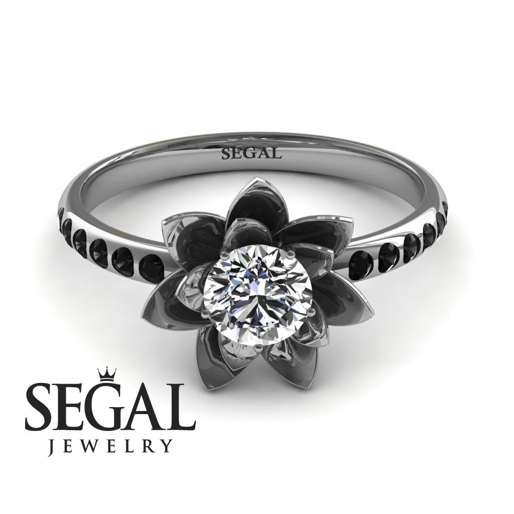 enhanced engagement black j white diamond gold and i round rings solitaire ring