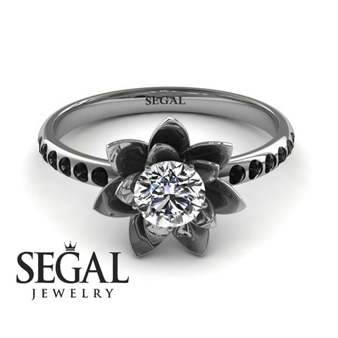 Flower Lotus Engagement Ring - Lotus no. 12