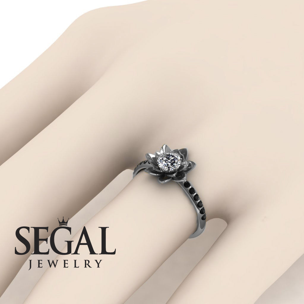 ring flower engagement lotus rings