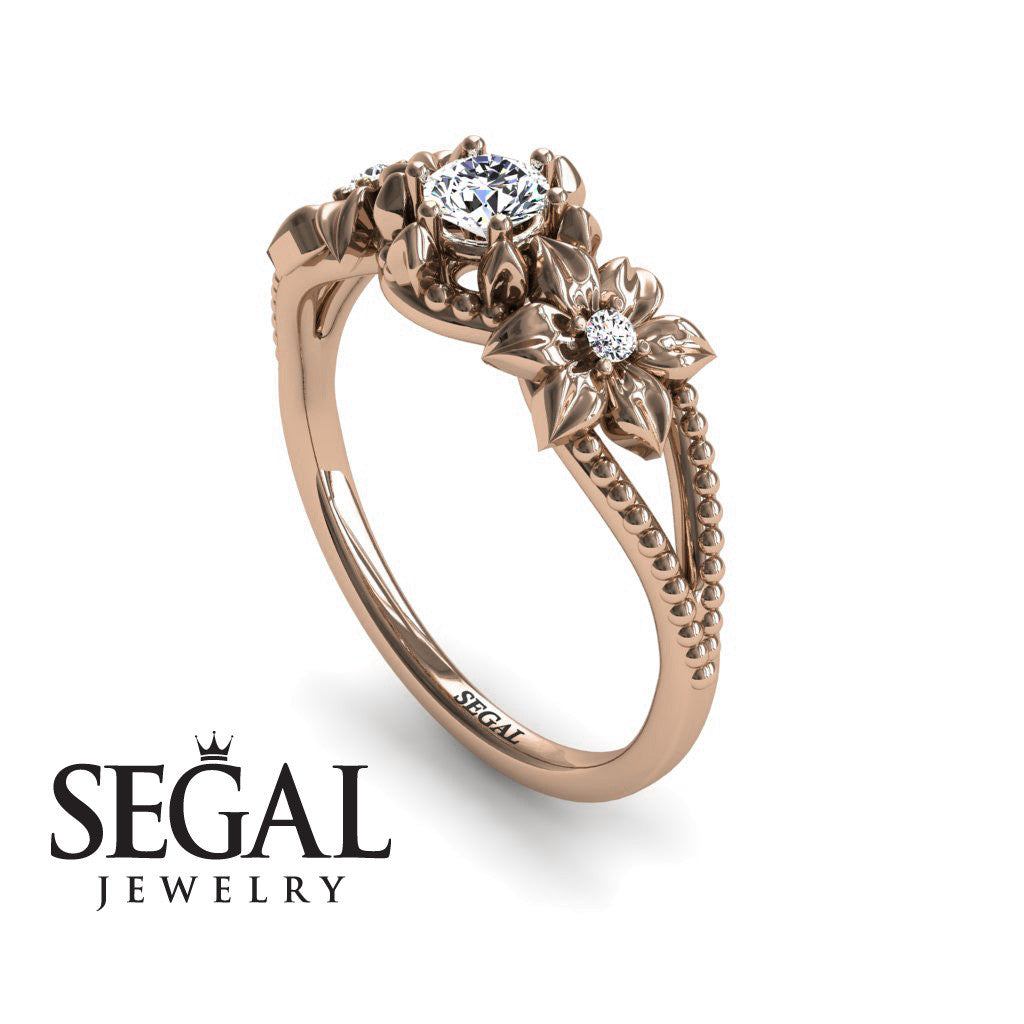 Leaf Engagement Ring 14K Rose Gold 025 Carat Round Cut Diamond