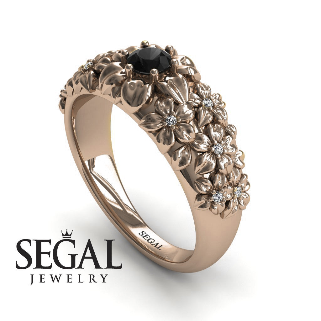 The Ring Of Flowers Black Diamond Ring- Violet no. 8