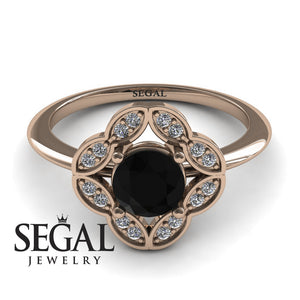 rose gold black diamond ring